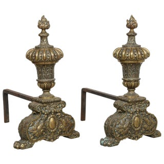 Pair of Large-Scale Georgian Revival, Neoclassical Brass Fireplace Andirons For Sale