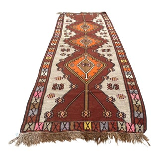1950s Antique Nomadic Kars Kilim Rug For Sale