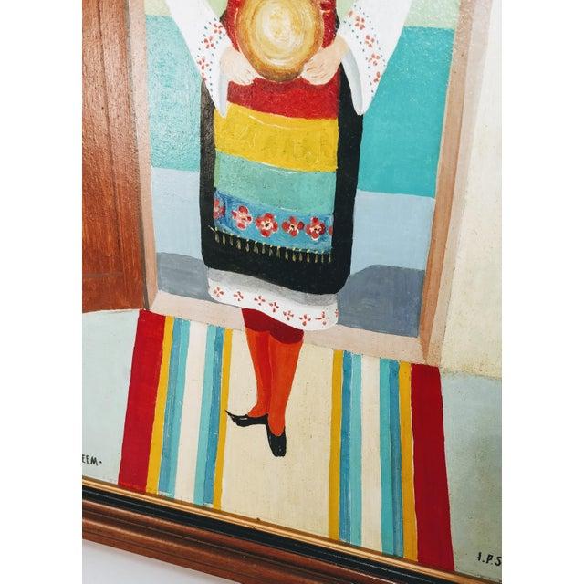 Vintage Mid-Century Bulgarian Soukman Saya Costume Folk Art Painting For Sale - Image 10 of 11