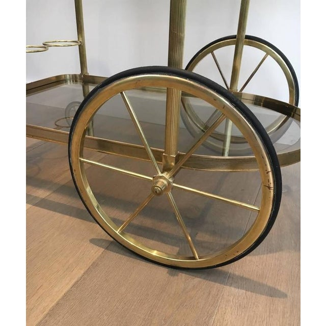 1960s French Brass and Smoked Glass Bar Cart - Image 7 of 11