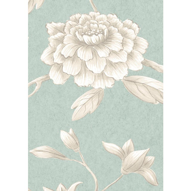 "English Lewis & Wood Jasper Peony Green Glaze Bespoke Extra Wide 52"" Botanic Style Wallpaper For Sale - Image 3 of 4"