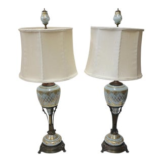Pair of Aqua Blue Neoclassical Glass Lamps