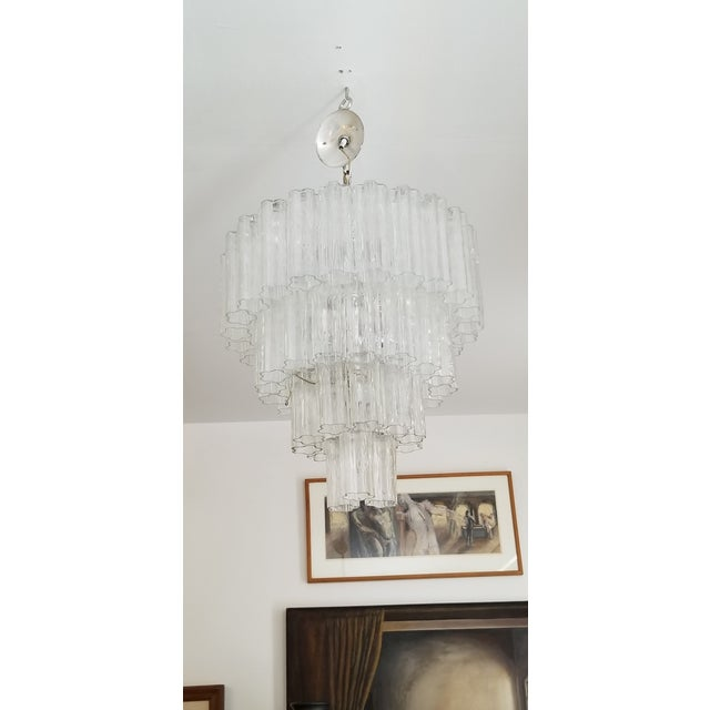 """Vintage Italian """" Tronchi """" Murano Glass Chandelier by Venini. For Sale - Image 13 of 13"""