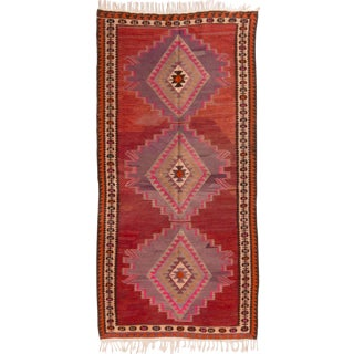 Vintage Mid-Century Red Geometric Wool Kilim Rug - 4′4″ × 9′4″ For Sale