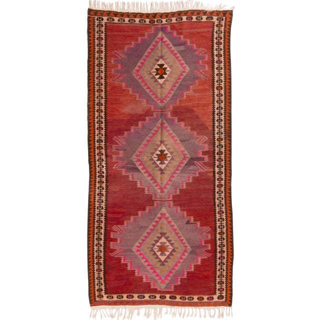 Vintage Mid-Century Red Geometric Wool Kilim Rug - 4′4″ × 9′4″ For Sale