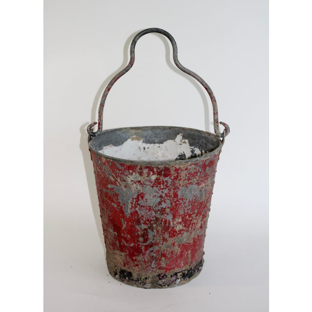 1920s Vintage Red Fire Brigade Bucket For Sale - Image 5 of 6