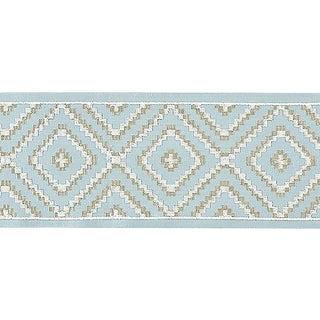 Sample, Scalamandre Medina Embroidered Tape, Sky For Sale