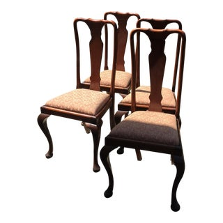 Queen Anne Style Mahogany Dining Chairs - Set of 4