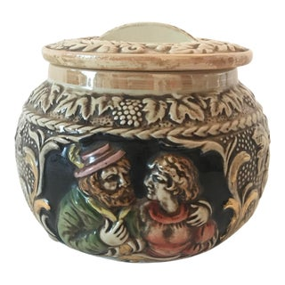 Vintage Italian Majolica Bowl With Lid For Sale