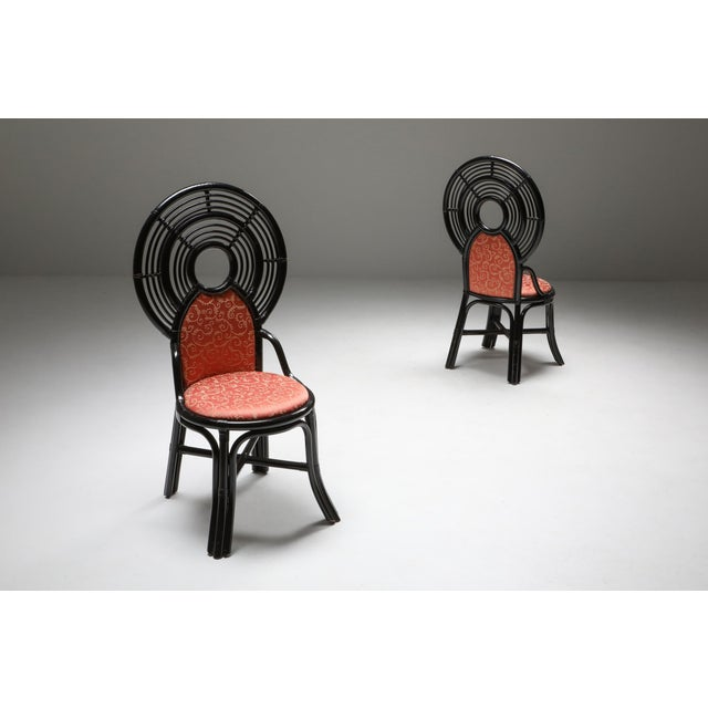 Italian Bamboo Set of Chairs From Italy With Oriental Influences - 1970's For Sale - Image 3 of 7