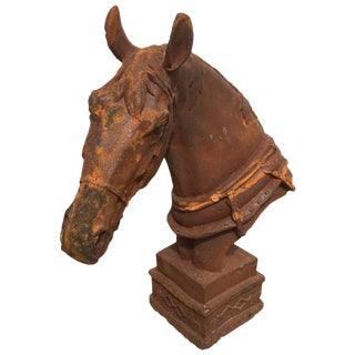 1980s Cast Iron Horse Sculpture For Sale