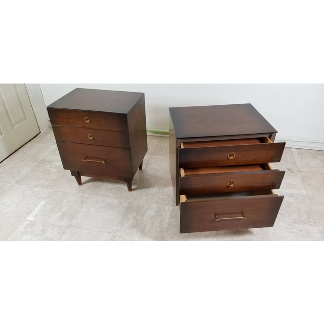 1970s 1970s Modern Walnut Nightstands - a Pair For Sale - Image 5 of 13
