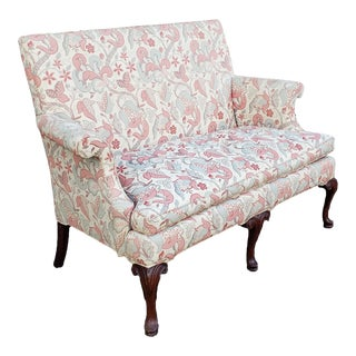 Southwood Furniture Co Upholstered Mahogany Queen Anne Hallway Loveseat C1990s For Sale