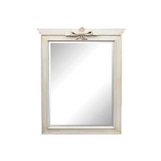 White Painted Mirror Frame With Decorative Bow For Sale