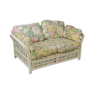 Vintage White Wash Painted Rattan Floral Upholstered Loveseat For Sale