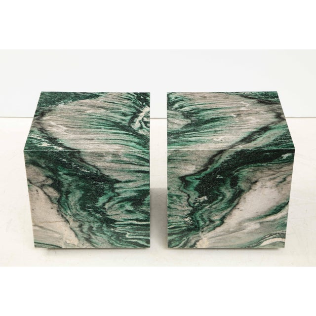 Polar Verde Marble Cubes or Side Tables - a Pair For Sale - Image 4 of 11