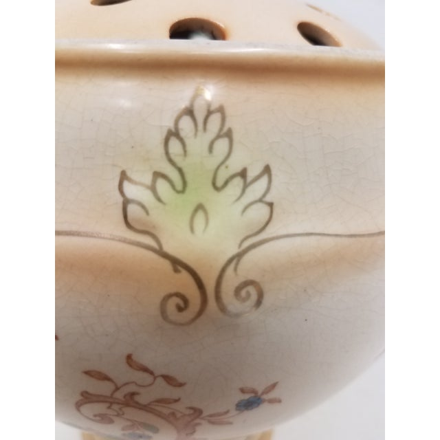 Cream Antique English Ornate Flower Frog For Sale - Image 8 of 13