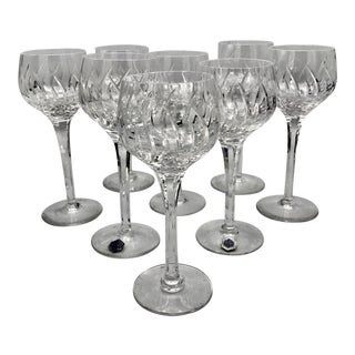 Stuart Contessa Crystal Hock Glasses - Set of 8 For Sale