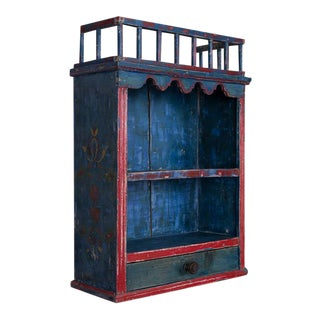 Antique Folk Art Original Blue Painted Hanging Wall Cabinet For Sale