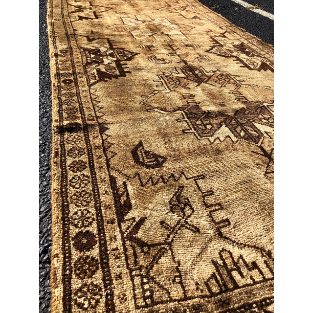 1950s 1950's Vintage Persian Hamadan Rug- 3′6″ × 9′9″ For Sale - Image 5 of 13