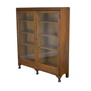 Antique Oak 2 Door Bookcase For Sale