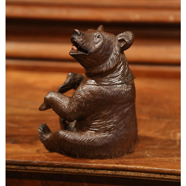 19th Century Swiss Carved Black Forest Tobacco Bear Sculpture With Glass Eyes For Sale - Image 4 of 11
