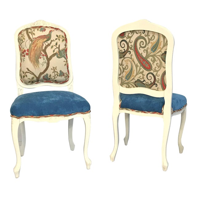 Early 20th Century Louis XV Château d'Amboise Parcel Gilt Velvet & Tapestry Chairs - a Pair For Sale