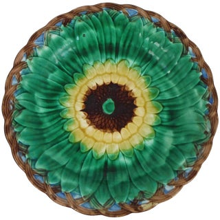 19th Century Victorian Wedgwood Majolica Sunflower Plate