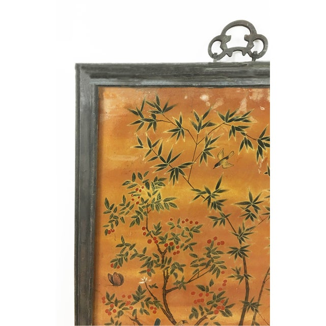 Asian Chinese Scroll Painting Panel in Original Frame For Sale - Image 3 of 5