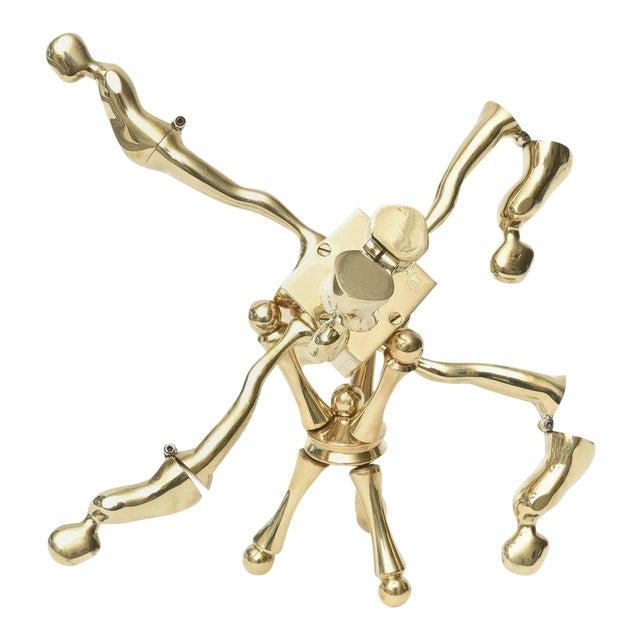 One of Kind Ernest Trova Polished Brass Falling Man Sculpture For Sale