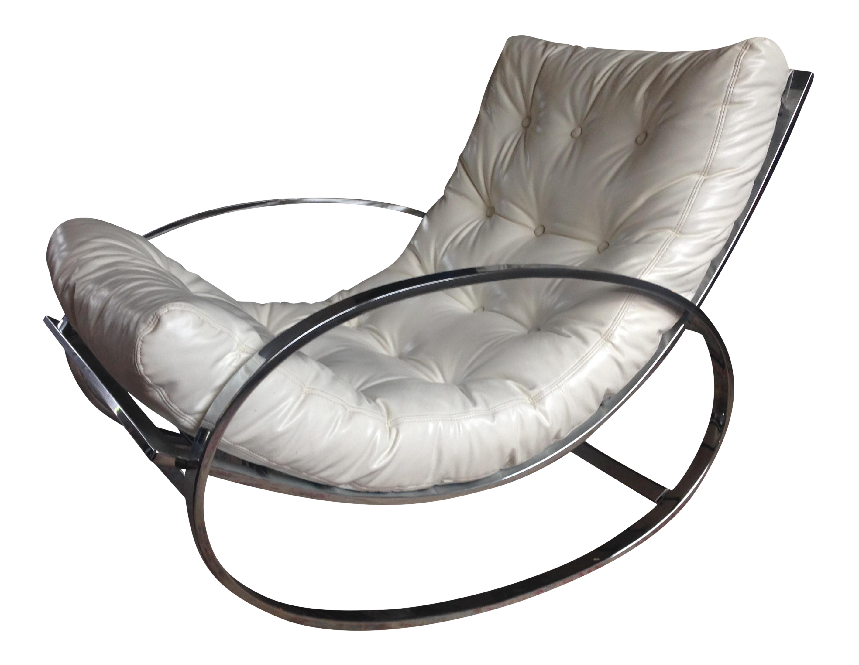 Selig Chrome U0026 Leatherette Tufted Rocking Chair
