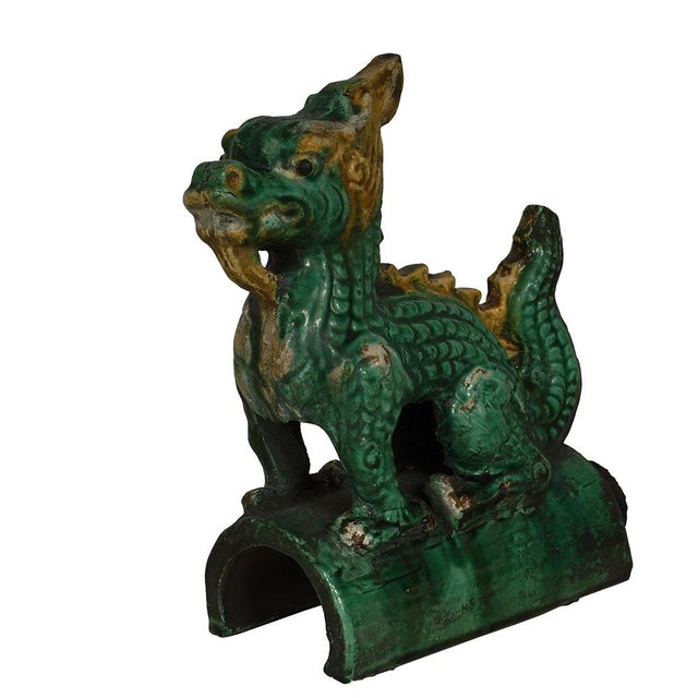 Green Vintage Chinese Glazed Ceramic Dragon Roof Tile For Sale - Image 8 of 8