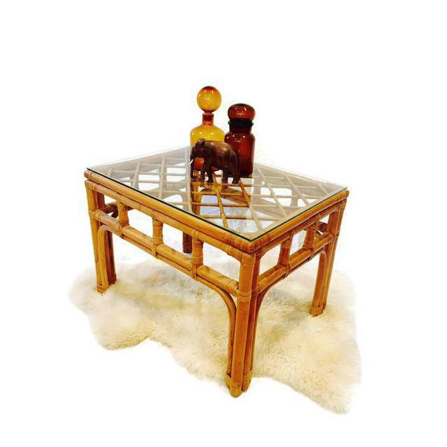 Vintage Bamboo Fretwork End Tables Glass Top Set - a Pair - Image 4 of 7