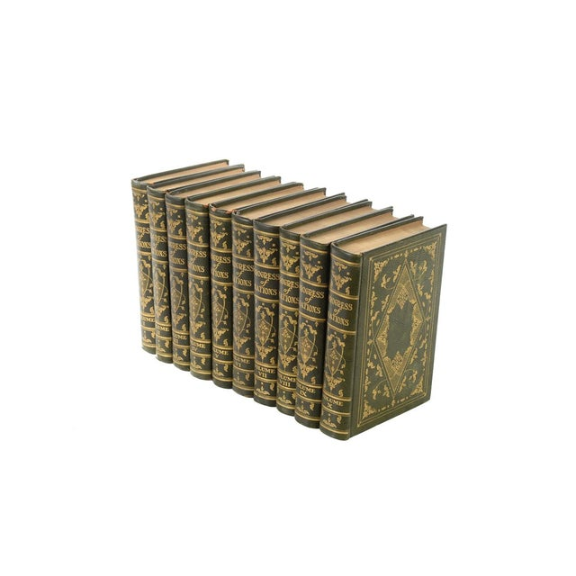 "Progress of Nation -1930 Limited Edition - 10 volumes - Moroccan Leather-bound books. Each book measures 5"" x 9."" Progress..."