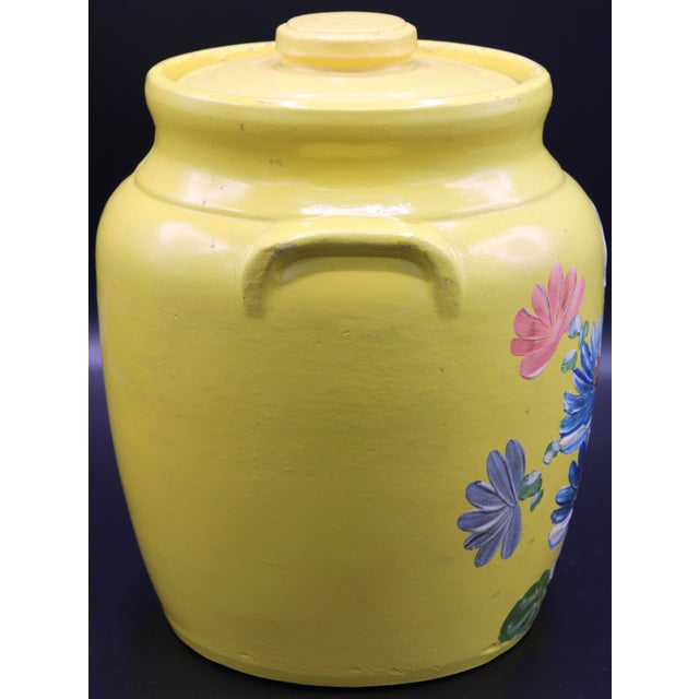 Vintage Yellow Hand Painted Floral Pottery Jar For Sale - Image 4 of 13