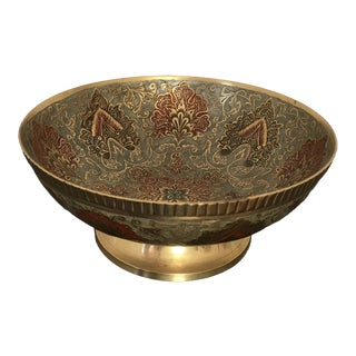 20th Century Vintage Indian Enameled Brass Footed Bowl For Sale