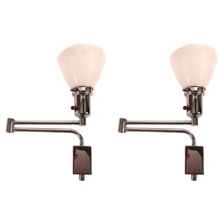 Pair of Chrome Swing Arm Sconces For Sale