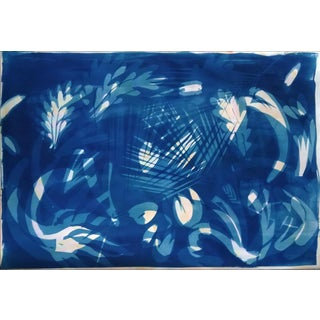 Botanical Shapes on Subtle Marbling, 100x70 Cm, Classic Blue Cyanotype on Watercolor Paper. Monotype For Sale