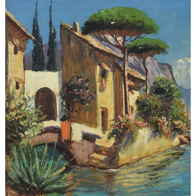 Mid 20th Century Midcentury Italian Mediterranean Lake & Village by A. Ravello For Sale - Image 5 of 10