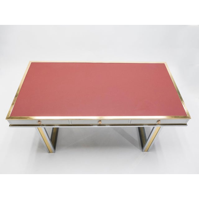 1970s Unique French Desk White Lacquer Brass Red Leather by Atelier La Boetie, 1974 For Sale - Image 5 of 13