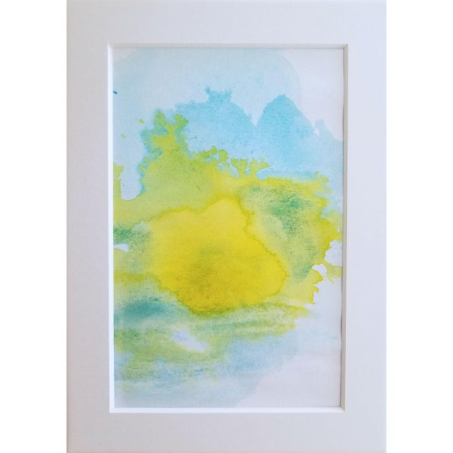 """Lemon Sun"" Modern Abstract Original Watercolor Painting - Image 4 of 5"