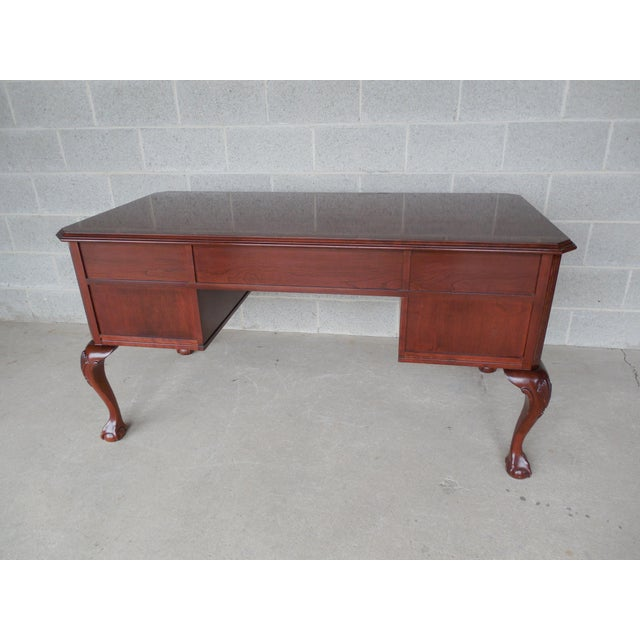 Ethan Allen Georgian Court Chippendale Style Ball Claw Footed Executive Desk Image 4 Of