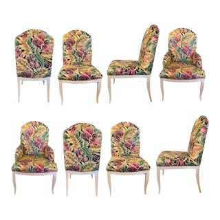 Vintage Custom Floral Dining Chairs - Set of 8 For Sale