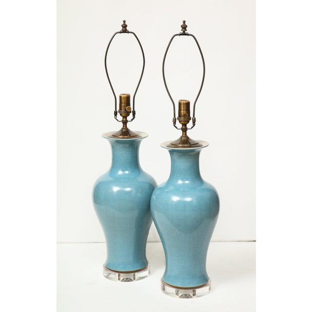Crackle Glazed Blue Vase Lamps - A Pair For Sale - Image 9 of 13