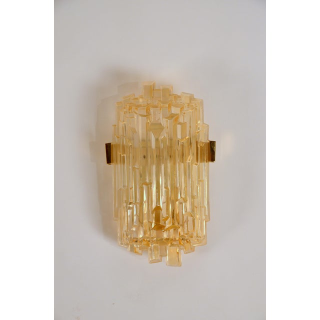 Gold 1970s Chic French Brutalist Glass Sconces - a Pair For Sale - Image 8 of 10