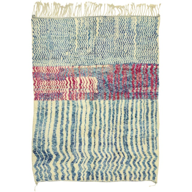 """Contemporary Berber Moroccan Rug - 7'4"""" X 9'7"""" For Sale"""