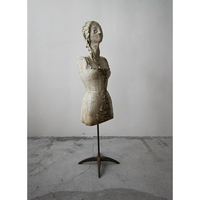 Figurative Antique 1920's French Female Art Dress Form Mannequin on Steel Stand For Sale - Image 3 of 9