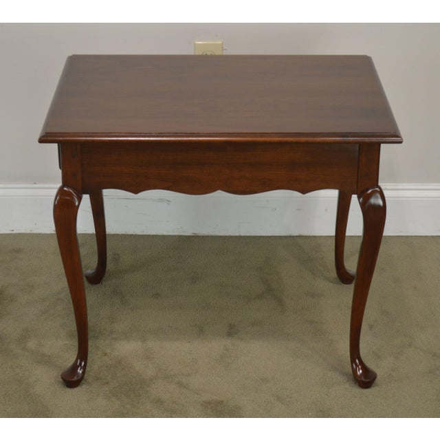 Wood Hitchcock Old Litchfield Solid Cherry Pair Queen Anne One Drawer Side Tables For Sale - Image 7 of 13