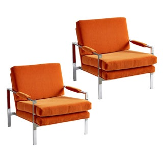 Pair of Milo Baughman-style Chrome Lounge Chairs Circa 1970s