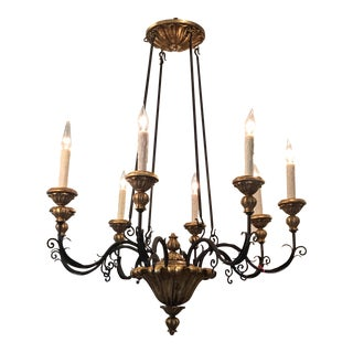 Designer Italian Gilt Wood & Iron Chandelier by Randy Esada Designs for Prospr